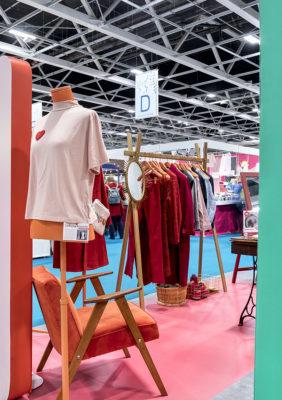 Label Experience : vue globale de l'espace mode du stand Pinterest au salon Création & Savoir-faire