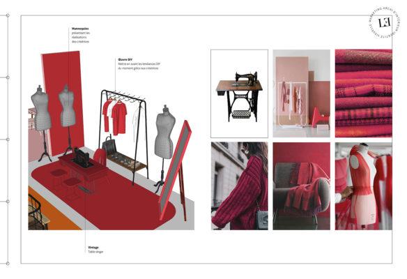 Label Experience : 3D et planche d'inspirations de l'espace mode dans le stand Pinterest au salon Création & Savoir-faire