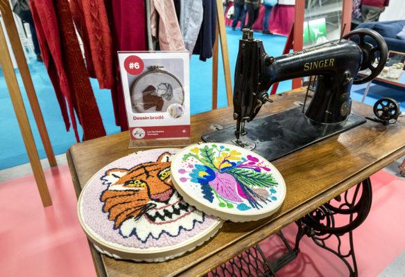 Label Experience : atelier de broderie dans le stand Pinterest au salon Création & Savoir-faire