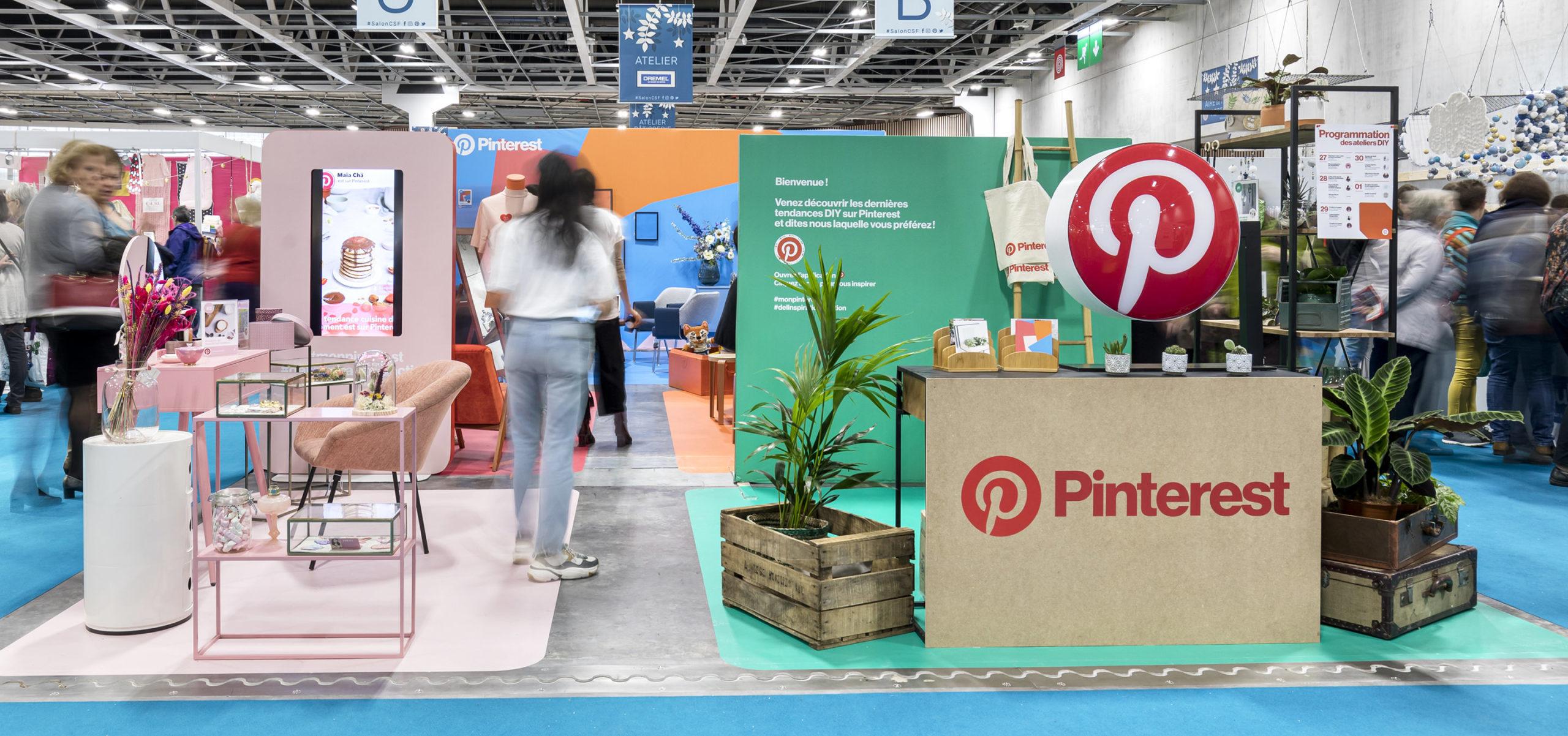 Label Experience : vue d'ensemble du stand Pinterest au salon Création & Savoir-faire