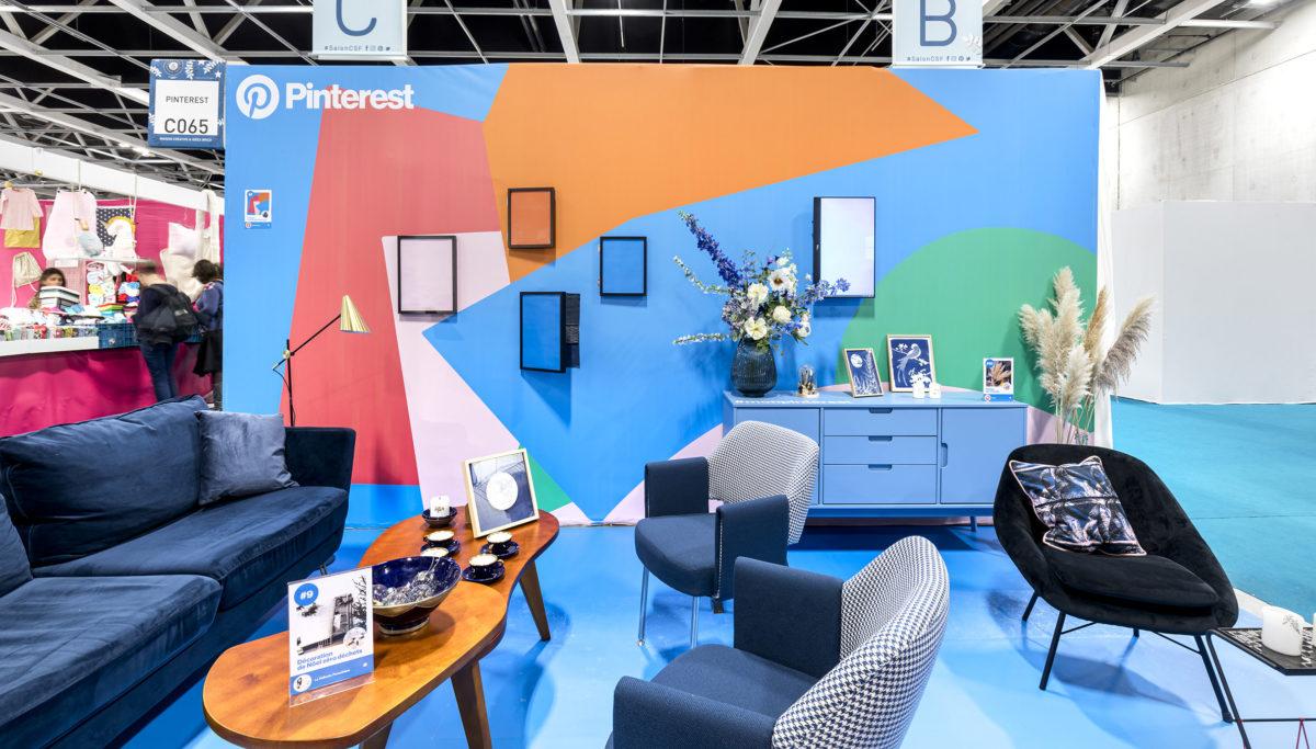 Label Experience : vue globale de l'espace décoration du stand Pinterest au salon Création & Savoir-faire