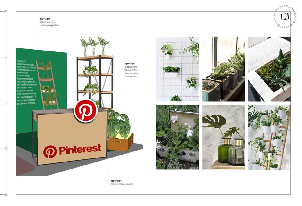 Label Experience : 3D et planche d'inspirations de l'espace jardin dans le stand Pinterest au salon Création & Savoir-faire