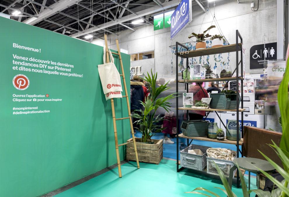 Label Experience : vue globale de l'espace jardin du stand Pinterest au salon Création & Savoir-faire