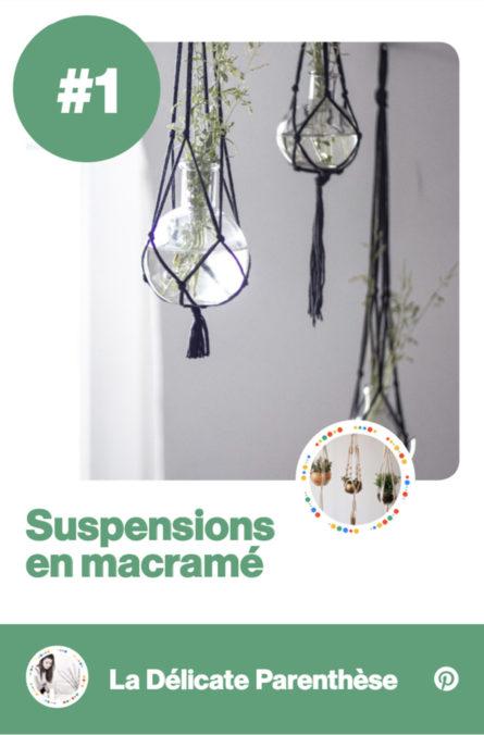 Label Experience : focus sur le panneau de l'atelier de suspension en macramé dans le stand Pinterest au salon Création & Savoir-faire