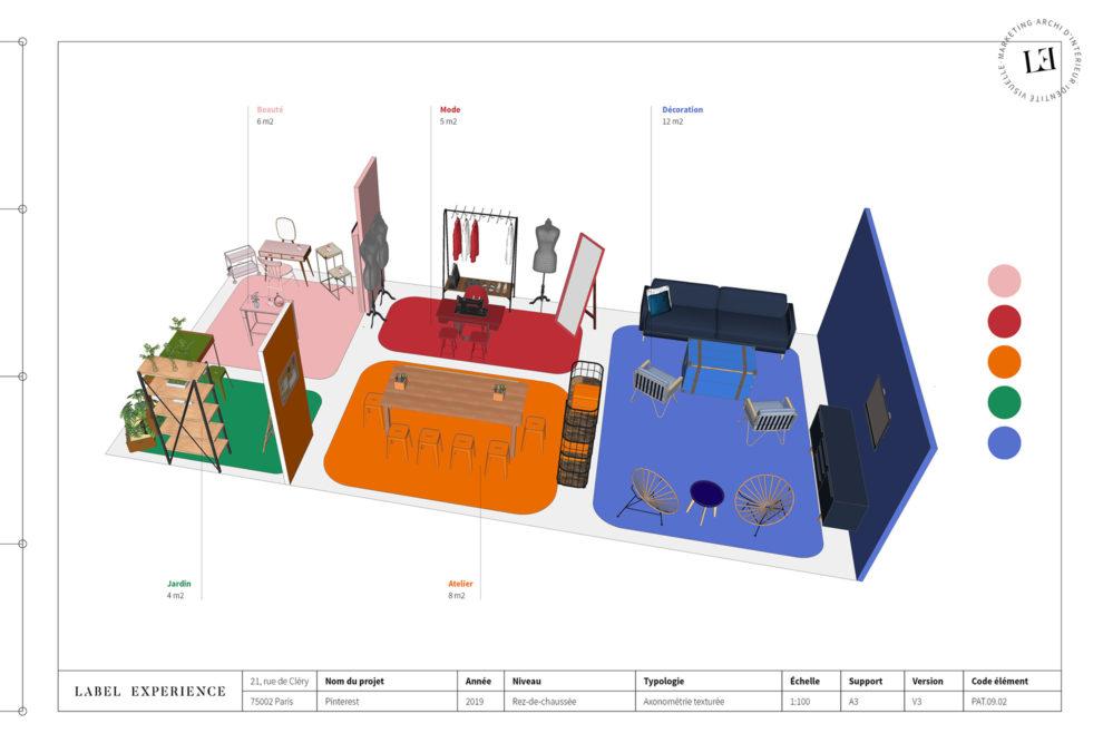 Label Experience : 3D globale du stand Pinterest au salon Création & Savoir-faire