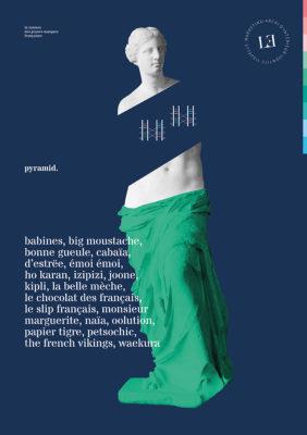 Label Experience : Flyer A4 représentant l'identité visuelle de l'enseigne pour le pop-up store de « Pyramid » au Carrousel du Louvre.