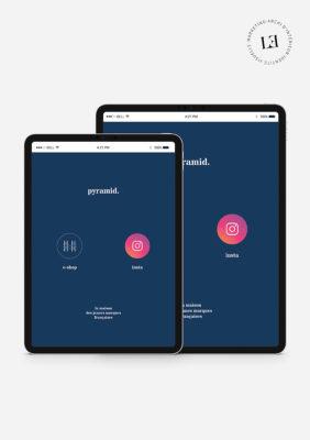 Label Experience : Tablette numérique représentant l'identité visuelle de l'enseigne et son compte Instagram pour le pop-up store de « Pyramid » au Carrousel du Louvre.