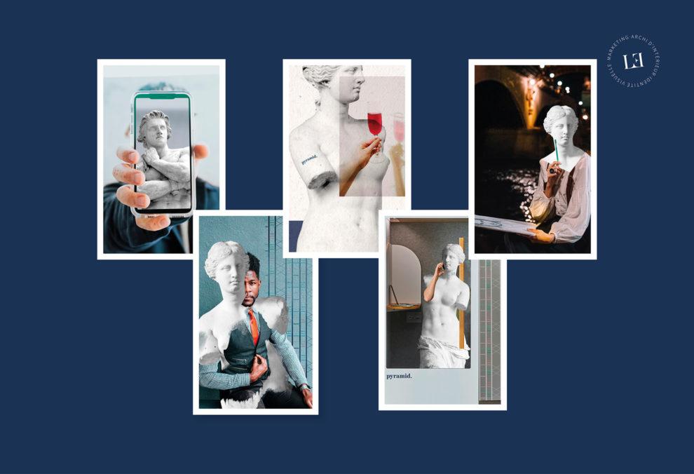 Label Experience : Images qui mixent humains et statues. pour le pop-up store de « Pyramid » au Carrousel du Louvre.