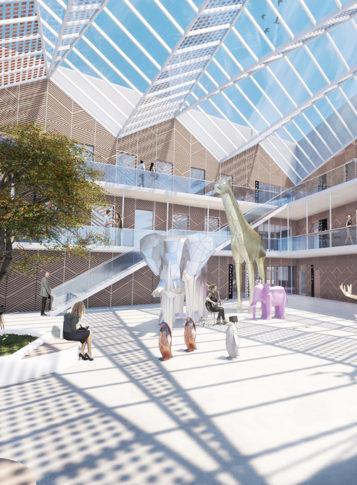 Label Experience: Maquette 3D de l'intérieur du tiers-lieu « Le Connecteur » du Crédit Agricole à Biarritz.