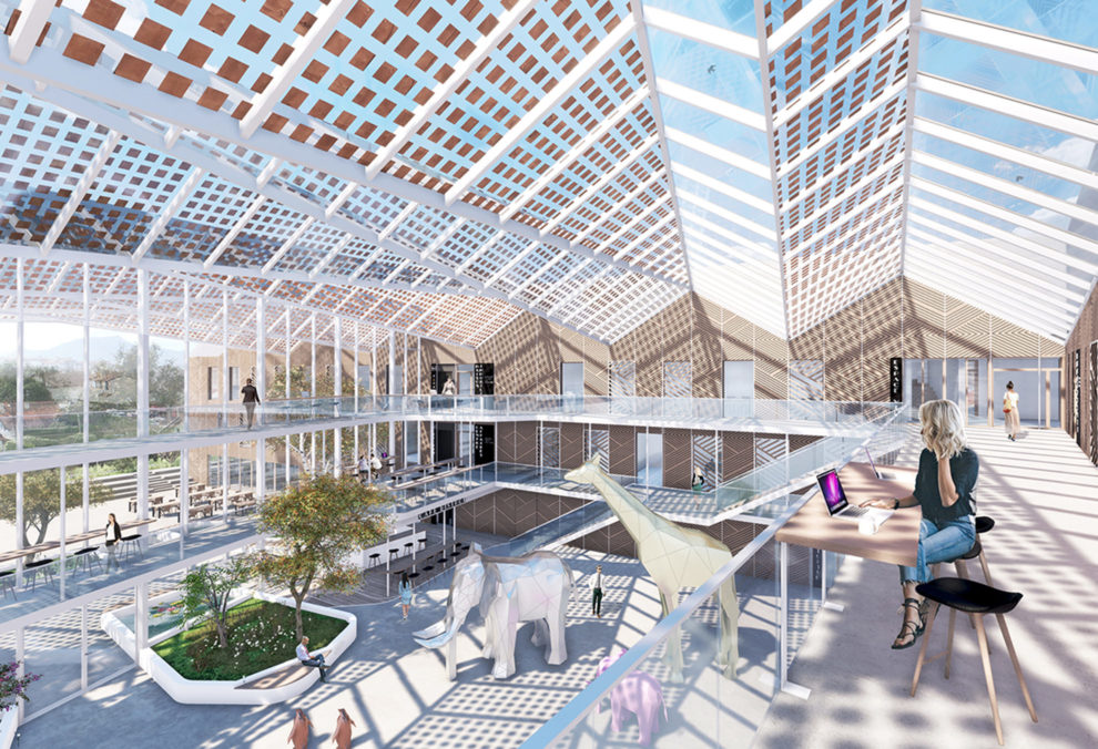 Label Experience: Maquette 3D vue d'en haut du tiers-lieu « Le Connecteur » du Crédit Agricole à Biarritz.