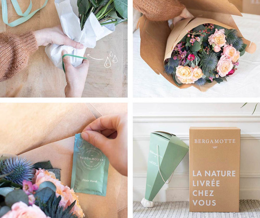 Label Experience : Différentes étapes de préparation d'un bouquet de fleur dans la « Maison Bergamotte » à Paris.