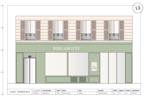 Label Experience: Croquis aux tons verts de la façade de la « Maison Bergamotte » à Paris.