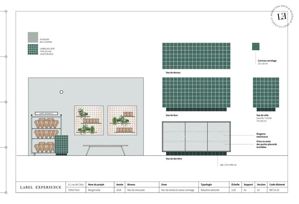 Label Experience: Croquis sur l'agencement et mobilier de la future « Maison Bergamotte » à Paris.