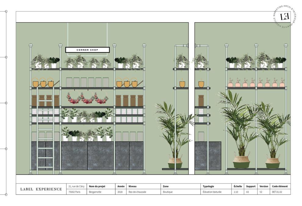 Label Experience: Croquis sur l'agencement d'un des espace de la future « Maison Bergamotte » à Paris.