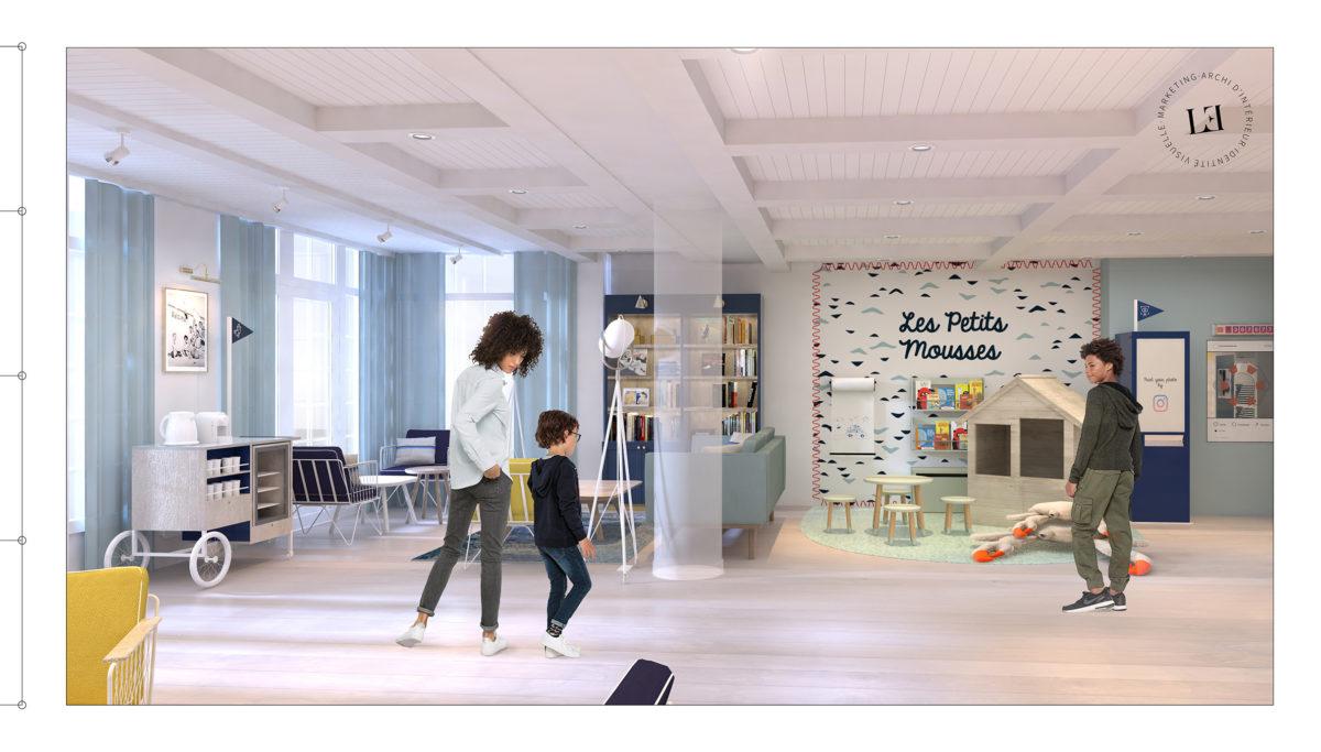 Label Experience : 3D générale du hall d'accueil du Pierre & Vacances au Crotoy avec les différents espaces