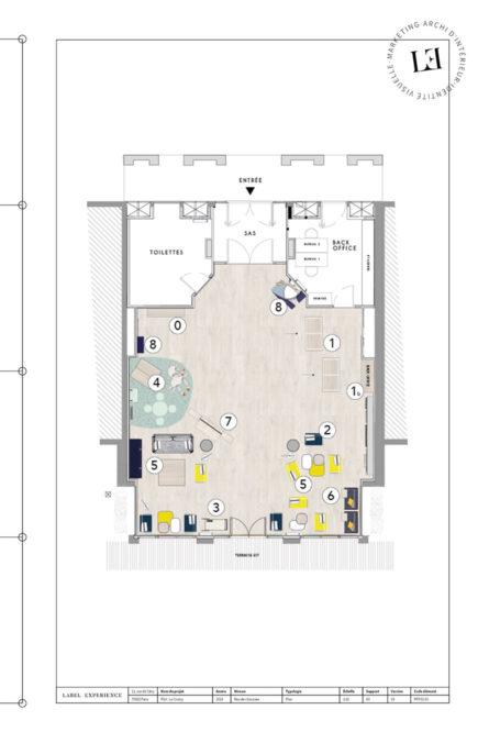 Label Experience : plan d'architecture, vue du haut, du hall d'accueil du Pierre & Vacances au Crotoy
