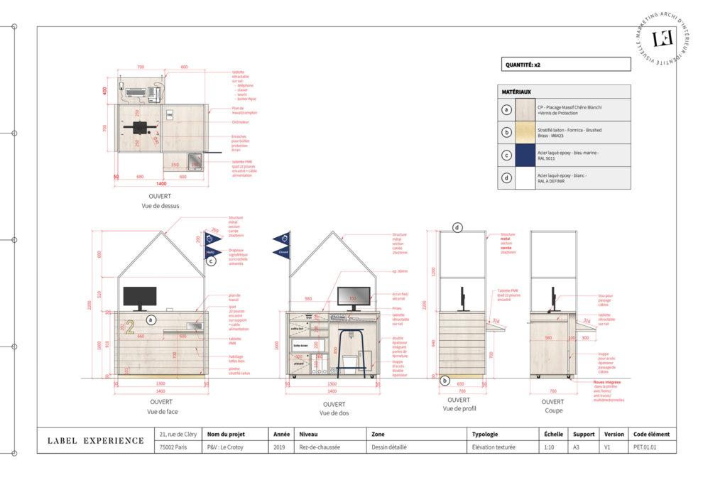 Label Experience : schéma des comptoirs de réception dans le hall d'accueil du Pierre & Vacances au Crotoy