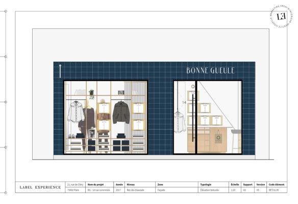 Label Experience: Croquis de la devanture aux carrelages bleu de la boutique « Bonne Gueule » à Paris.