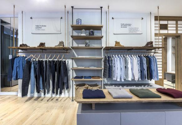 Label Experience: Présentoir, étagères et portants de la boutique « Bonne Gueule » à Paris.