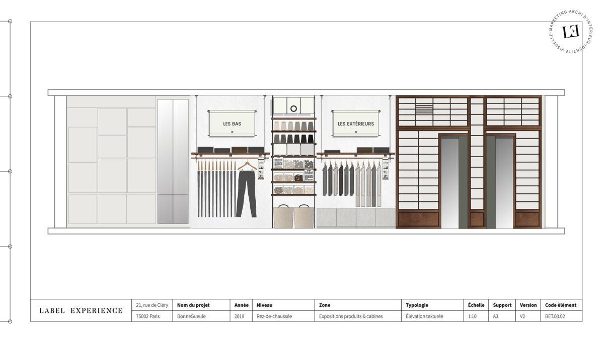 Label Experience: Croquis de l'agencement de la boutique « Bonne Gueule » à Paris.