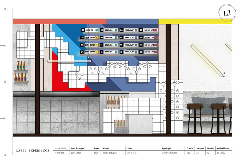 Label Experience : coupe architecturale du bar Brussels Beer Project Canal