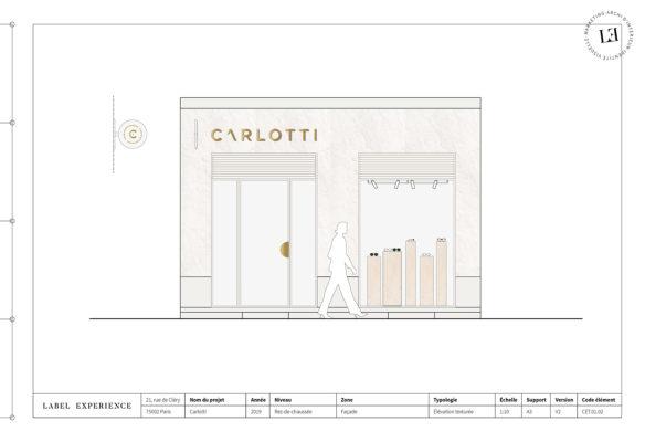 Label Experience : élévation de la façade de la boutique Carlotti à Paris dans le Marais