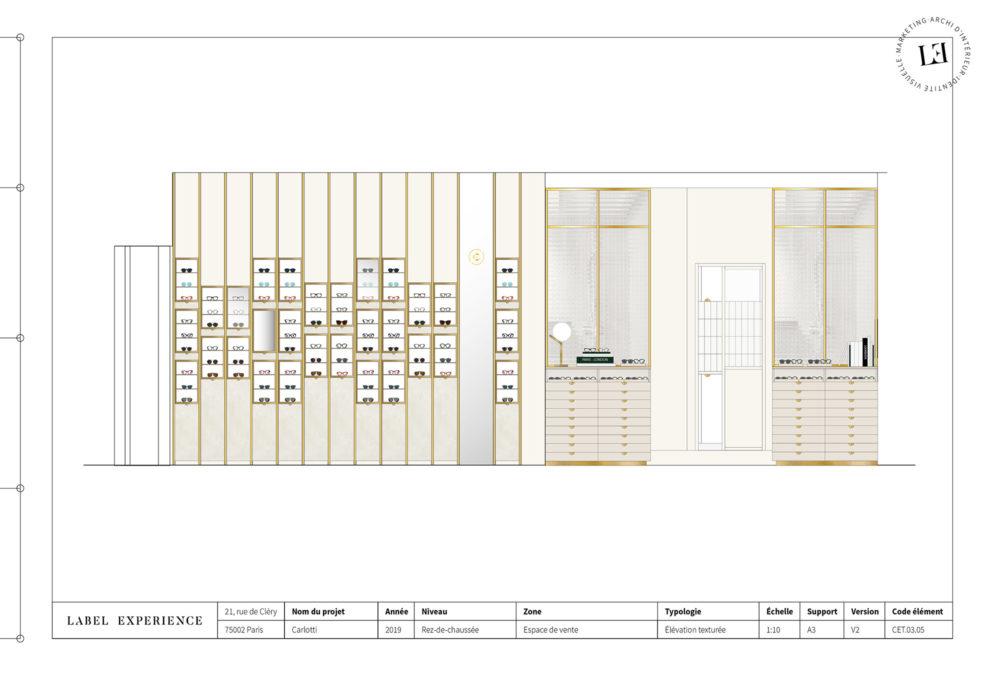 Label Experience : coupe architecturale de la boutique Carlotti à Paris dans le Marais