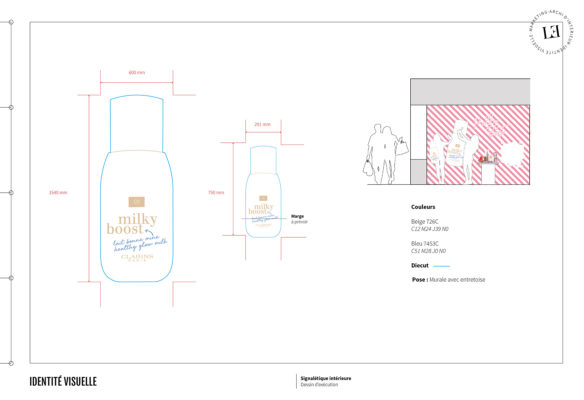 Label Experience : document d'exe du décor mural de l'espace nouveautés dans le pop-up Clarins