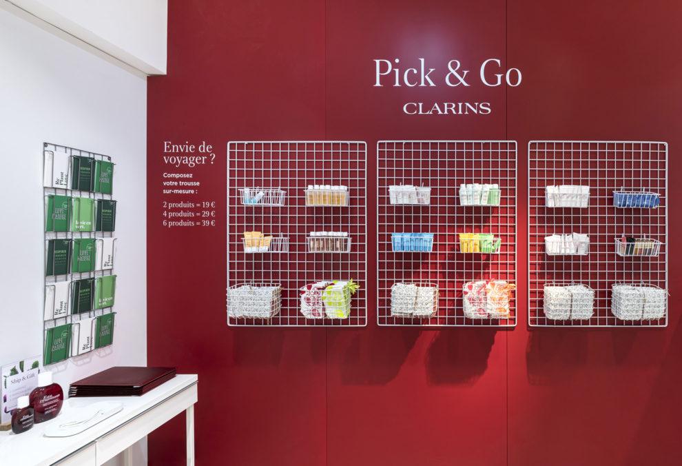 Label Experience : espace pick & go dans le pop-up Clarins Lab à Paris