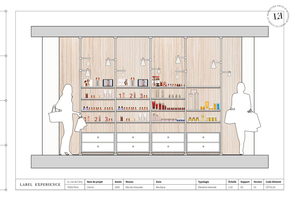 Label Experience : élévation d'architecture de l'espace produits dans le pop-up Clarins Lab à Paris