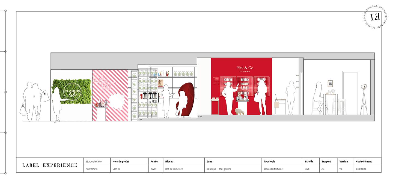 Label Experience : plan de coupe du pop-up Clarins Lab à Paris
