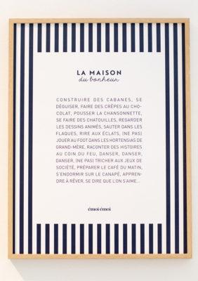 Label Experience: Focus sur texte « La maison du bonheur » encadré au pop-up « émoi émoi » à Paris.