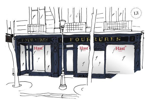 Label Experience: Croquis de la façade et vitrines de la future boutique « Hast » aux Batignolles.