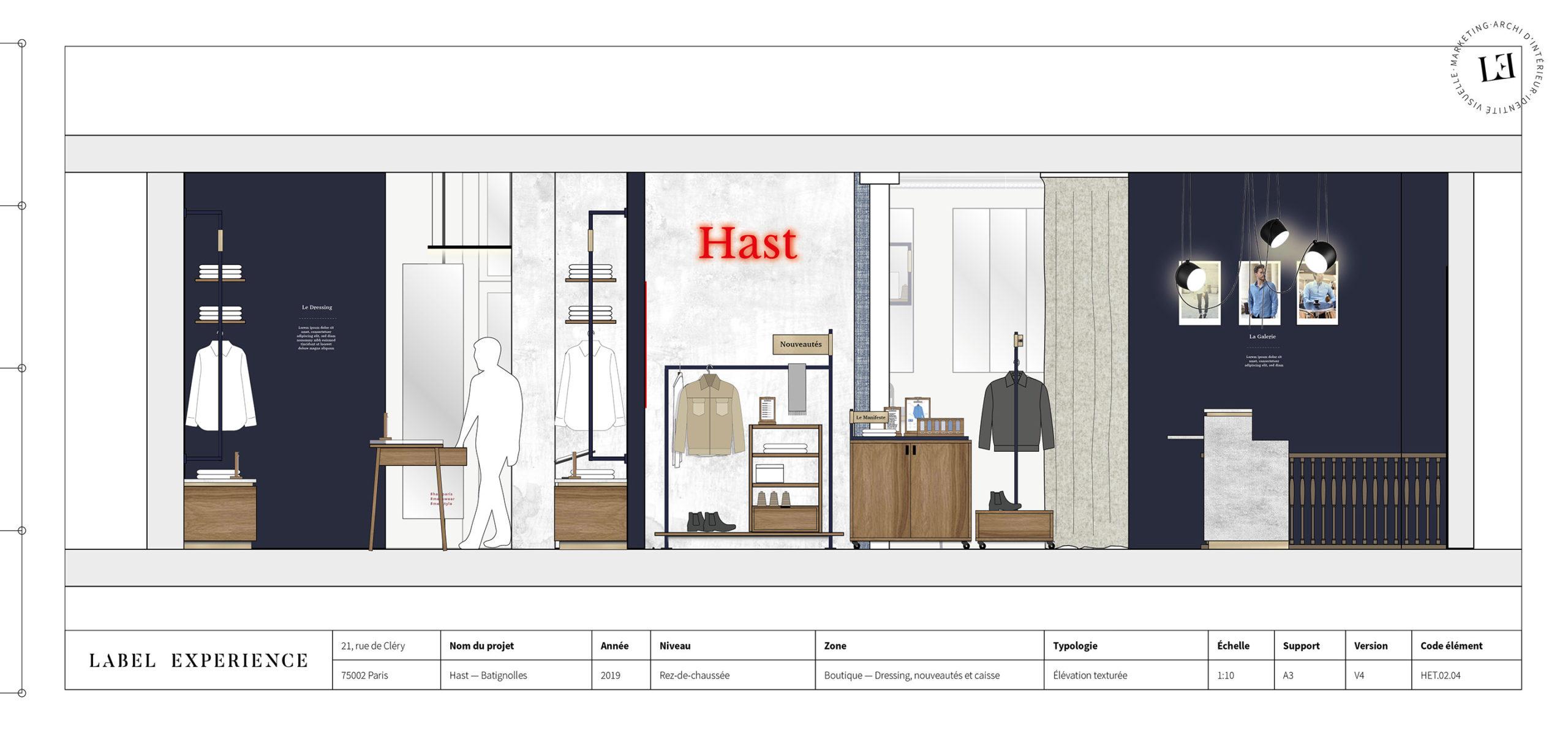 Label Expérience: Croquis de l'agencement de la future boutique « Hast » aux Batignolles.