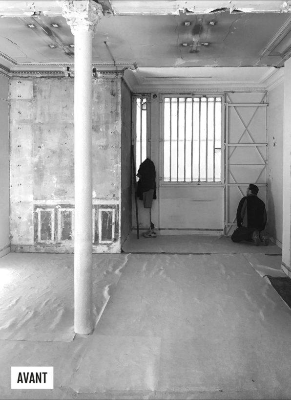 Label Expérience: Image en noir et blanc de l'espace avant les travaux de la future boutique « Hast » aux Batignolles.