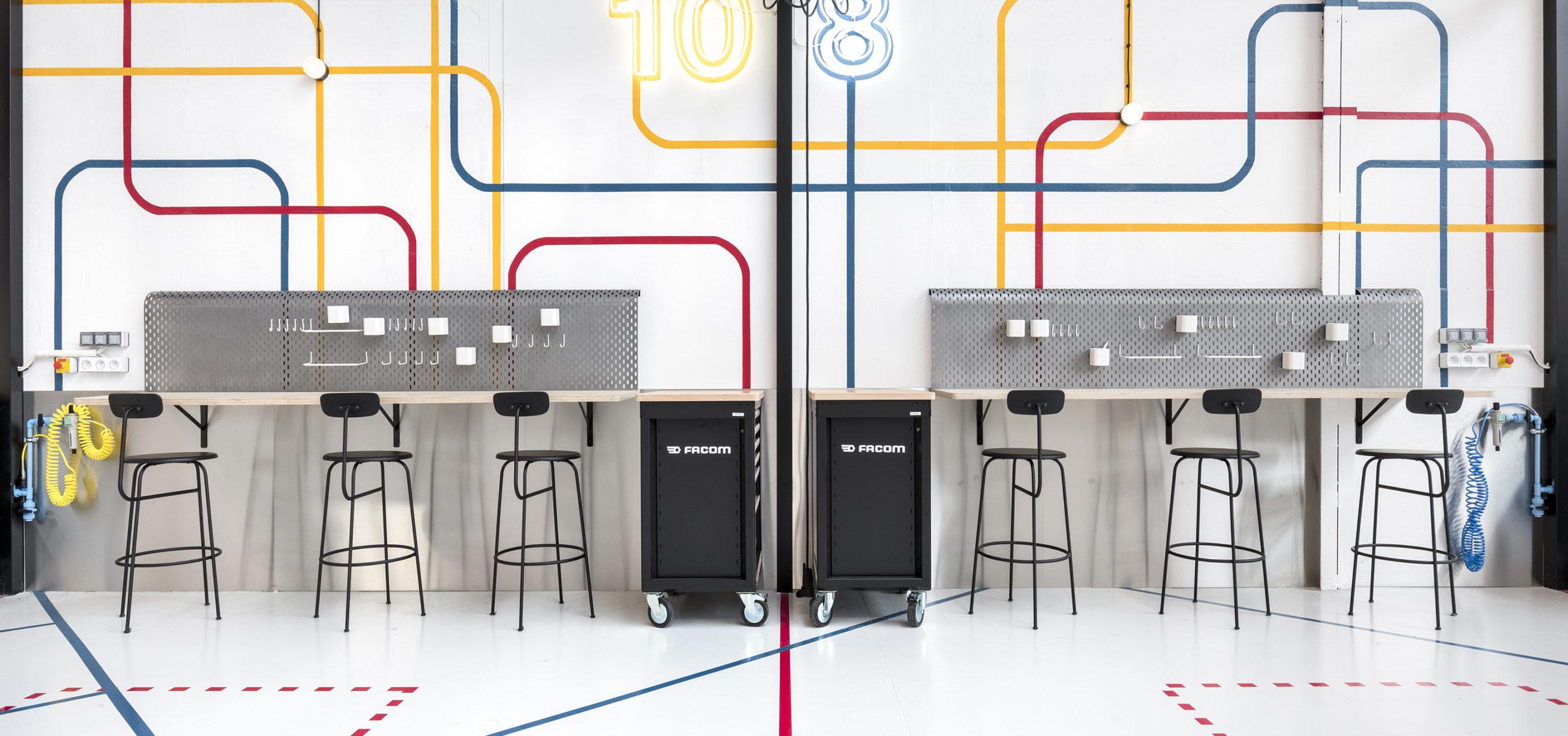Label Experience : vue de deux ateliers d'innovation du L'Oréal MYT incubateur d'entreprise à Aulnay-sous-bois