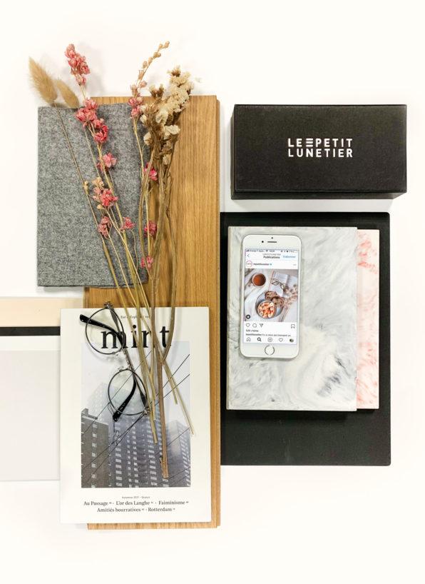 Label Experience : planche couleurs et matériaux utilisée lors de la création de la boutique de lunettes Le Petit Lunetier à Lille