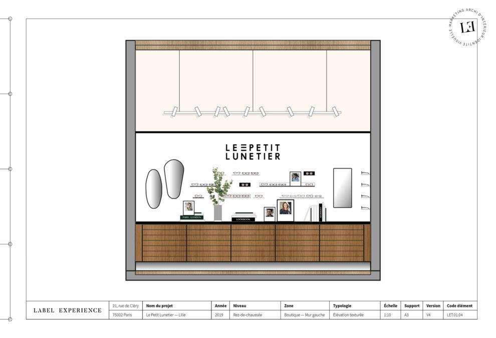 Label Experience : coupe architecturale de la boutique de lunettes Le Petit Lunetier à Lille