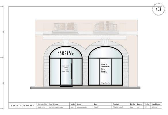 Label Experience : élévation de la façade de la boutique de lunettes Le Petit Lunetier à Lyon