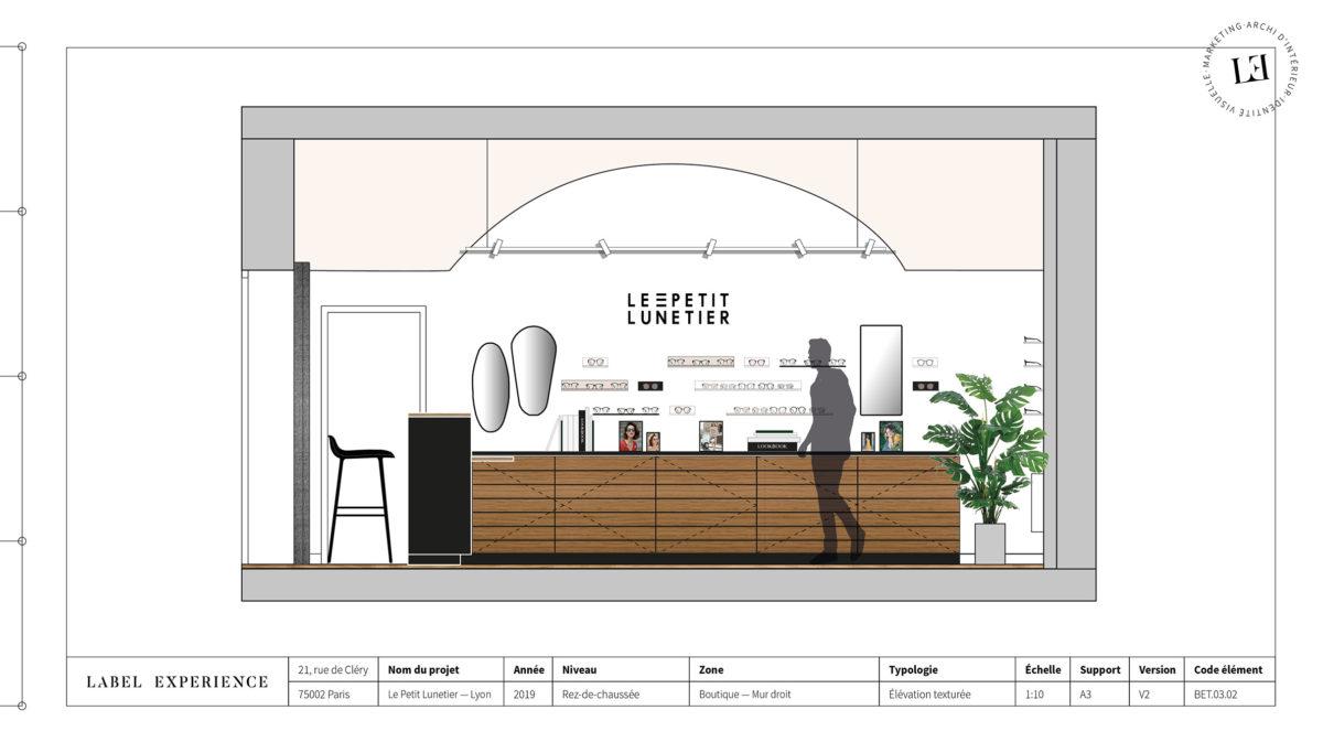 Label Experience : coupe architecturale de la boutique de lunettes Le Petit Lunetier à Lyon