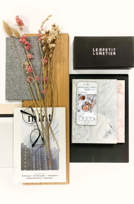 Label Experience : planche couleurs et matériaux utilisée lors de la création de la boutique de lunettes Le Petit Lunetier à Lyon