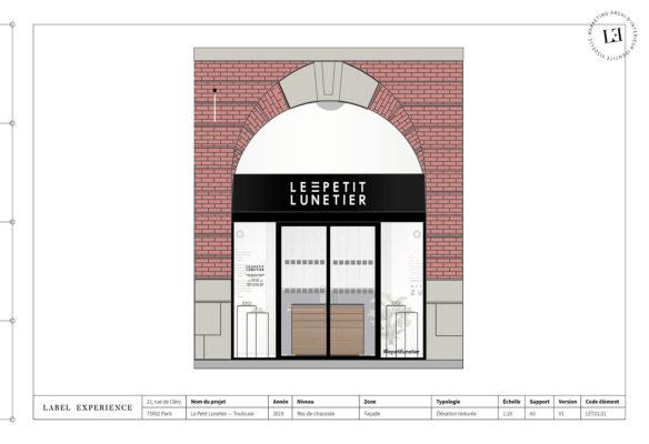Label Experience : élévation de la façade de la boutique de lunettes Le Petit Lunetier à Toulouse