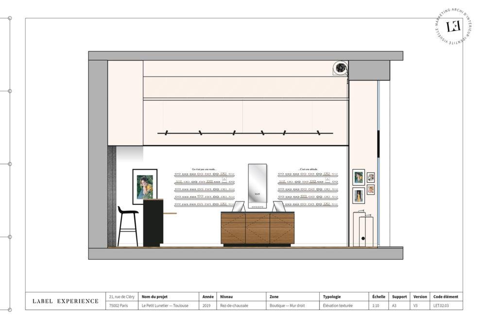 Label Experience : coupe architecturale de la boutique de lunettes Le Petit Lunetier à Toulouse