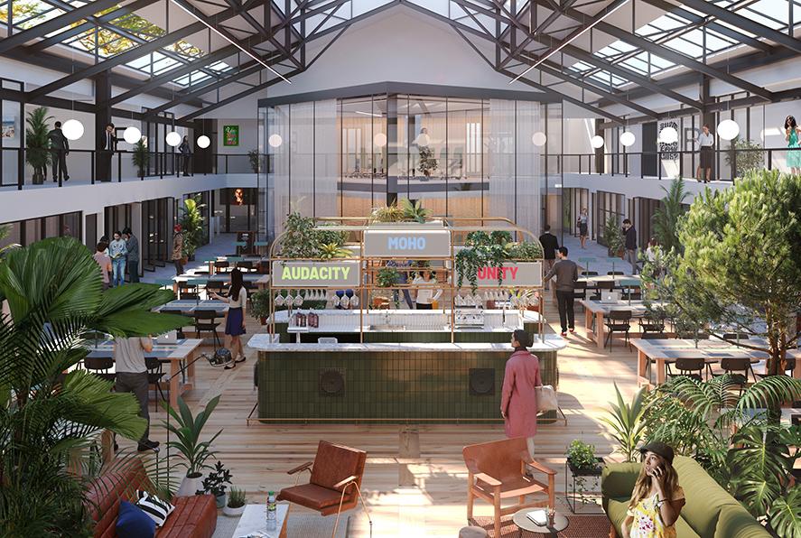 Label Experience : 3D d'un grand espace de vie au sein du MoHo, un tiers lieu dédié à l'innovation à Caen