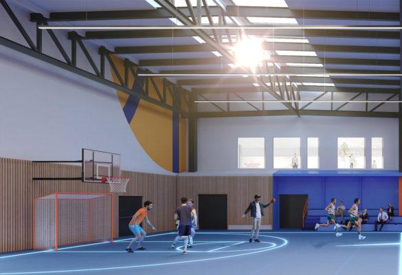 Label Experience : 3D côté gauche du terrain de basket du MoHo, un tiers lieu à Caen