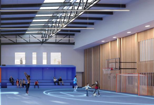 Label Experience : 3D du côté droite du terrain de basket du MoHo, un tiers lieu à Caen