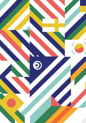 Label Experience : pattern graphique du MoHo, un tiers lieu dédié à l'innovation à Caen