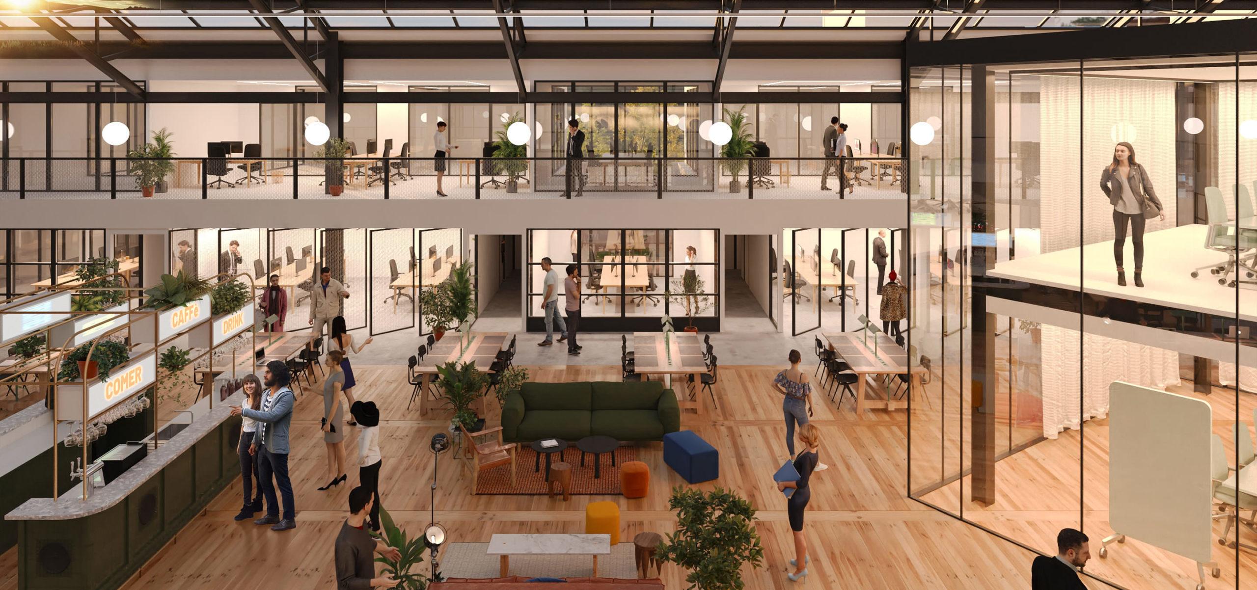Label Experience : 3D d'intérieur de l'ensemble du MoHo, un tiers lieu dédié à l'innovation à Caen
