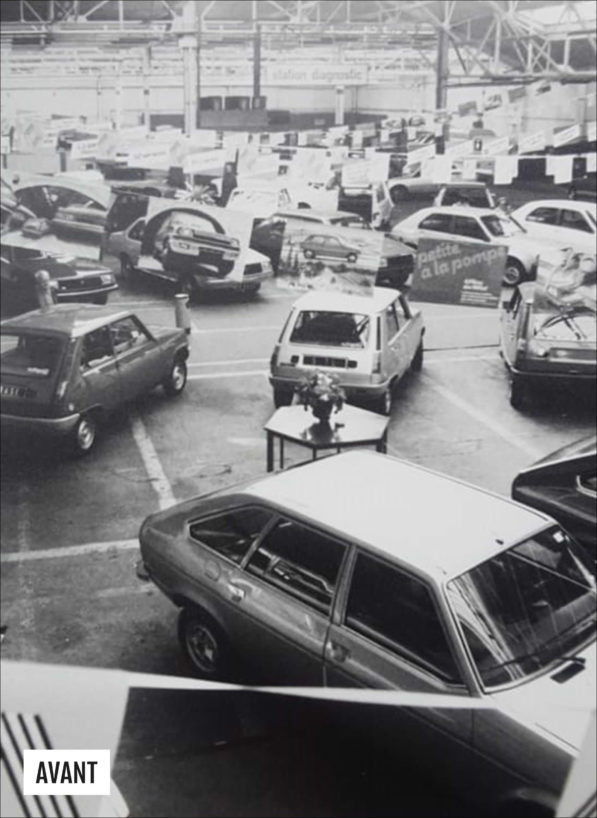Label Experience : photo de l'ancien intérieur avec voitures du MoHo lorsque c'était encore un garage Renault, avant la 2e Guerre mondiale