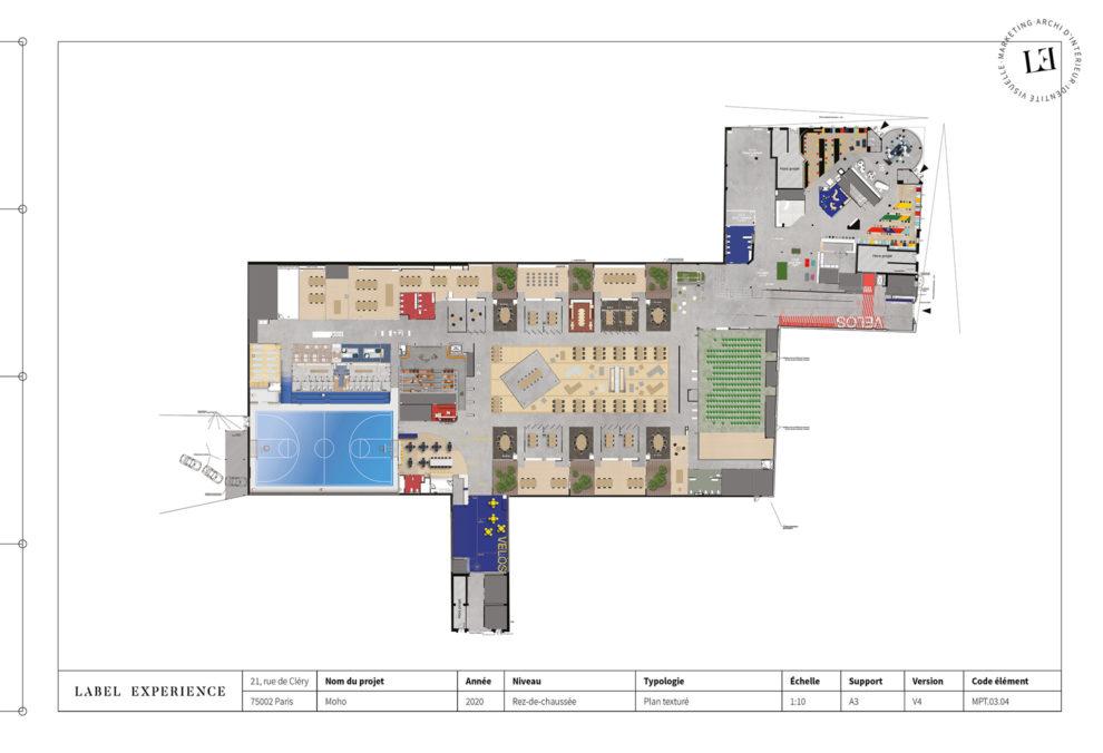 Label Experience : plan d'architecture vue du haut du MoHo